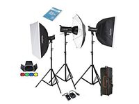 Godox Proffesional 1200W Photography Flash Studio Strobe kit Three 400w Sk400ii + Heavy duty stand