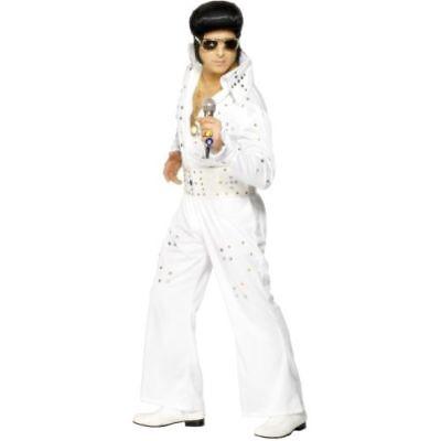 n Kostüm Elvis weiß Jumpsuit Rockstar (Herren Elvis Kostüm)