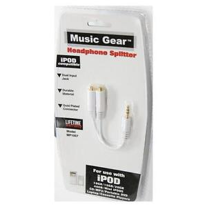 Music Gear Headphone Splitter For Ipod iphone mp3 mp4 gold ipad