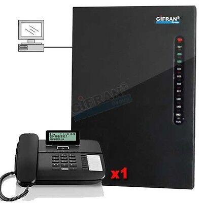 Kit Centralino telefonico analogico 3/8 + 1 telefono Gigaset nero centralini PC