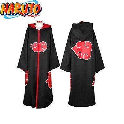 Anime Naruto Cosplay Costumes Akatsuki Ninja Uniform Cloak HOODED Halloween