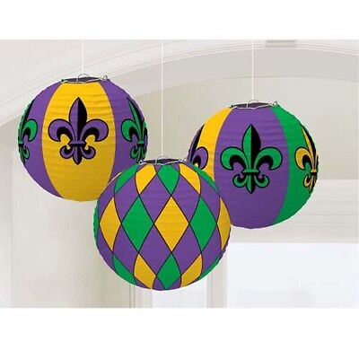 MARDI GRAS PAPER LANTERNS (3) ~ Birthday Party Supplies Hanging Decorations (Mardi Gras Birthday Party)