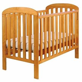 East Coast Wooden Dropside cot with mattress