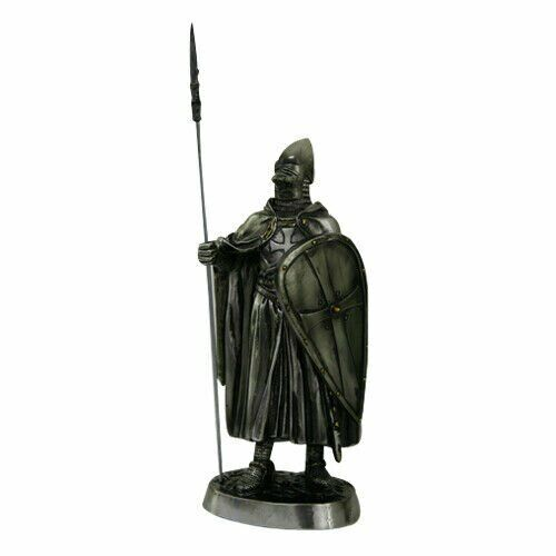 7 Inch Armored Crusader Knight with Spear and Shield Statue Figurine
