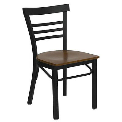 Black Ladder Back Metal Restaurant Chair With Cherry Wood Seat