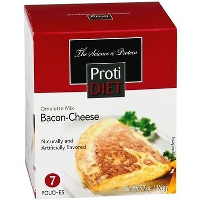 ProtiDiet - High Protein Diet Omelette | Bacon Cheese | Low Calorie, 7/Box -