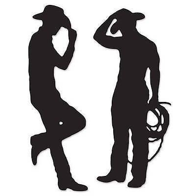 Cowboy Silhouette Cutouts set of 2 Cardboard Cutout Western Decor