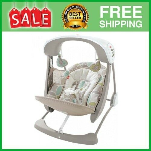 Baby Swing Chair 6 Speed Rocker Seat Toddler Bouncer Portable Electric Foldable