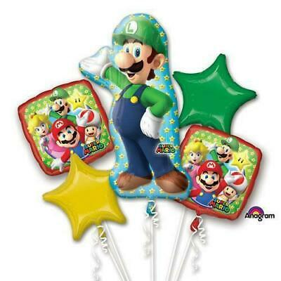 Super Mario Brothers Luigi 5pc Bouquet Birthday Party Foil Balloons Decorations (Super Mario Brothers Decorations)