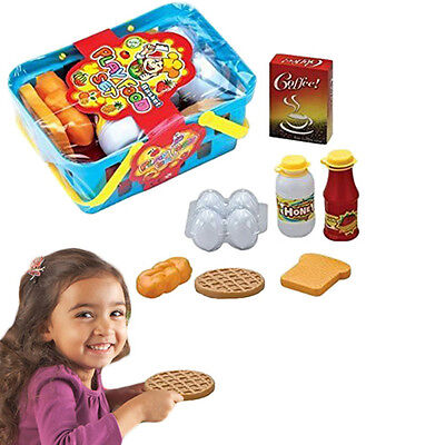 (Dazzling Toys 10 Pc Pretend Play Food Basket Set Kids Breakfast Lunch Dinner Toy)