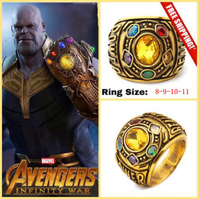 US! Thanos Rings Infinity Gauntlet Power Ring Avengers 4 Endgame Cosplay Jewelry - Avengers Jewelry