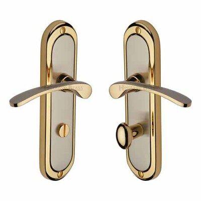 Brass Finished Door Lever Handle - Heritage Brass Ambassador Lever Lock door handle in Jupiter Dual  finish