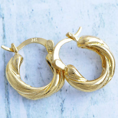 Cute New Yellow Gold Filled Twisted 16mm Round Huggie Hoop Earrings -