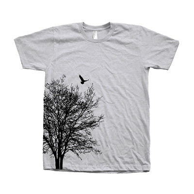 Crew Screen Print T-shirt - TREE BIRD American Apparel Men's Crew Neck T-shirt Screen Print Fashion Graphic