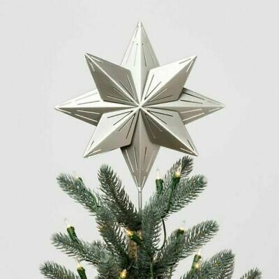 Hearth and Hand Magnolia Metal Star Tree Topper Silver Light Up NEW