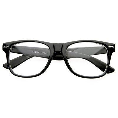 CLEAR LENS BLACK FRAME Vintage Fashion Unisex GLASSES COOL NERD GEEK (Black Geek Glasses)