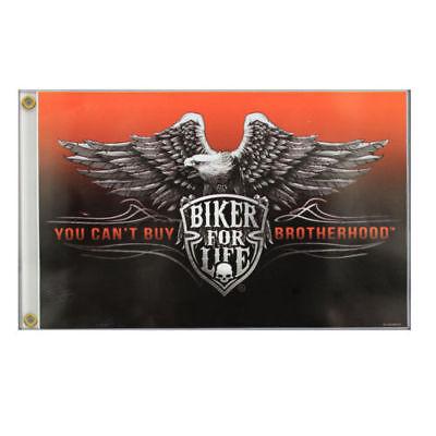 Biker For Life Chopper Skull Eagle Adler Brotherhood Flagge Fahne Banner NEU 1%
