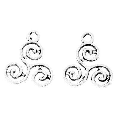 Packet 30 x Silver Tibetan 16mm Celtic Knot Triskelion Charm/Pendant ZX06915