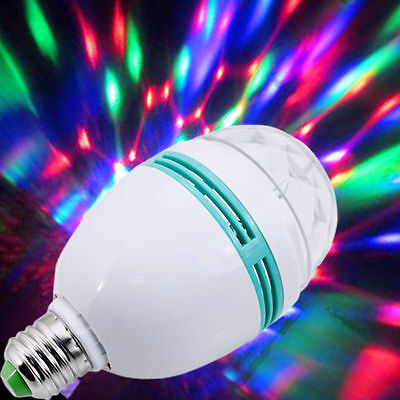 E27 3W Colorful Rotating Stage RGB LED Light Bulb Xmas Party Disco DJ Lamp