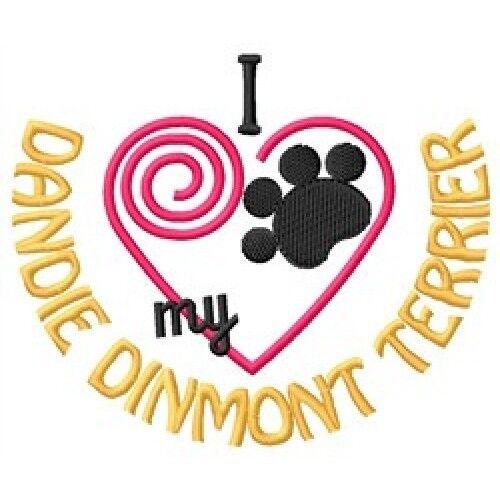 """I """"Heart"""" My Dandie Dinmont Terrier Ladies Fleece Jacket 1384-2 Size S - XXL"""