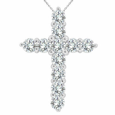 14K WG $950.00 PRONG SET NATURAL DIAMOND CROSS NECKLACE! For TIFFANY & SONIA'S.