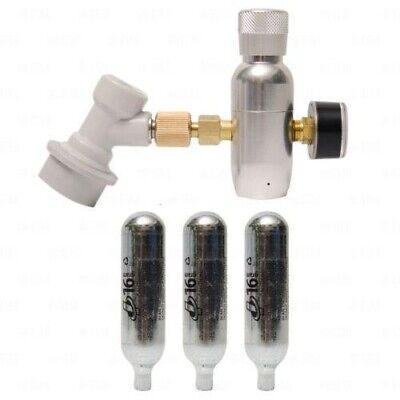 Mini Co2 Regulator Corny Keg Charger With Gauge And Keg Coupler 3 Cartridges