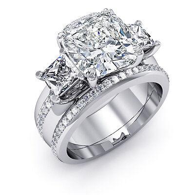 2.00 Ct Cushion & Princess Cut Micro Pave Diamond 14K Bridal Ring Set GIA F,VVS2