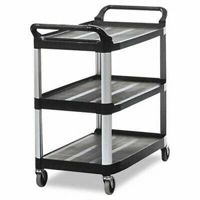 Rubbermaid Xtra Open Sided Utility Cart W3 Shelves Black Rcp 4091 Bla
