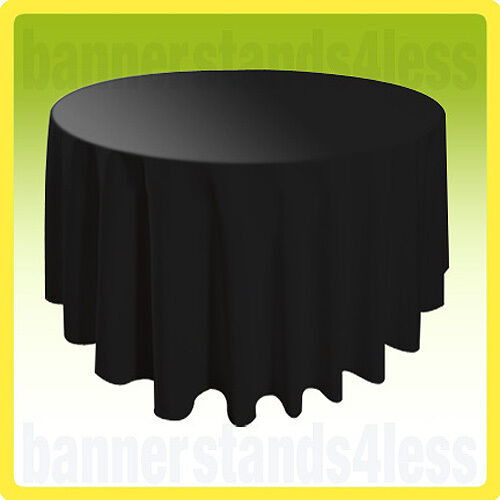 """108"""" Round Tablecloth Table Cover Banquet Wedding Restaurant Polyester - BLACK"""