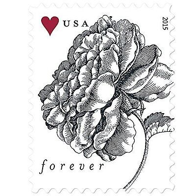 100 USPS Forever Stamps - 2015 Vintage Rose Stamps (5 Sheets of 20)
