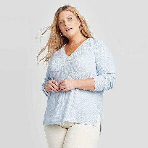 Ava & Viv Women's Plus Size Long Sleeve V-neck Rib-knit Top Blue 3X NWT Clothing, Shoes & Accessories