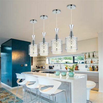 E27 Pendant Lamp Modern Crystal Iron Ceiling Light Dining Room Chandelier Decor