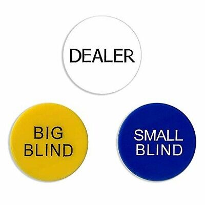 "Set of 2"" Small Blind, Big Blind & Dealer Puck Buttons For Texas hold'en Poker"