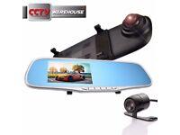 HD 1080P 4.3'' Dual Lens Car DVR Rear View Mirror Dash Cam Video Camera Recorder