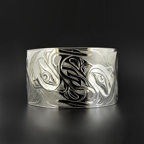 "Celtic Ravens Northwest Coast Native American Cuff Bracelet 1 1/2"" Wide Engraved"