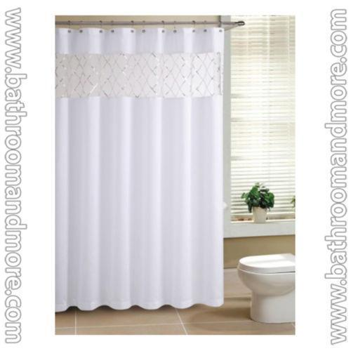 Solid fabric shower curtain ebay for Plain pink shower curtain