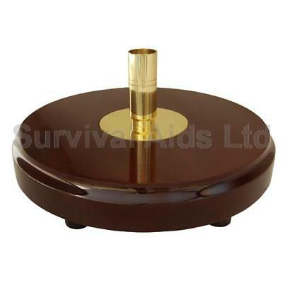 Solid Wood Ceremonial Flagpole Base with Brass Holder, Single Pole