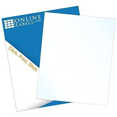 Online Labels - 8.5 X 11 Waterproof Clear Gloss Sticker Paper - No Back Slit