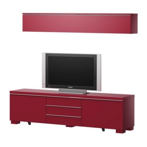 ikea besta burs red tv bench sideboard and wall shelf in basford nottinghamshire gumtree. Black Bedroom Furniture Sets. Home Design Ideas