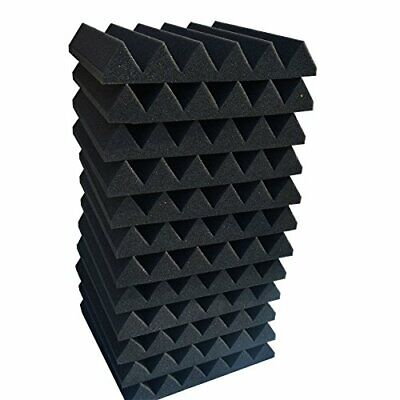 "12 Pk BLACK Acoustic Panels Studio Soundproofing Foam Wedge tiles 2""x12x12"