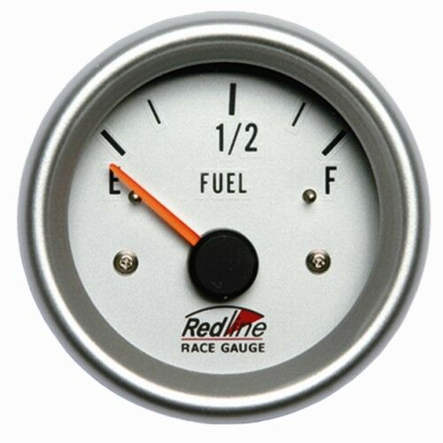 2 5/8 Fuel Gauge with Sender White Face Silver Bezel 258-25 Redline