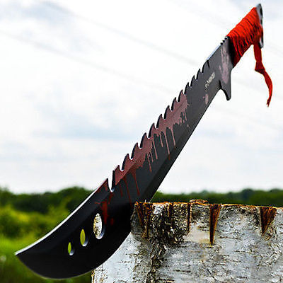"25"" TACTICAL SURVIVAL Fixed Blade ZOMBIE MACHETE Hunting Sword Full Tang Knife"