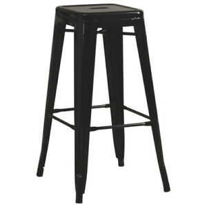 "Cafe Metal Bar Stools - Glossy Black - 30"" - Set of 4"