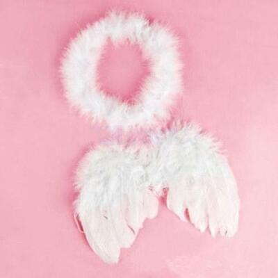Baby Infant Toddler Newborn Kids Angel Costume Feather Wings Fairy Props White - Kids Angel Wings