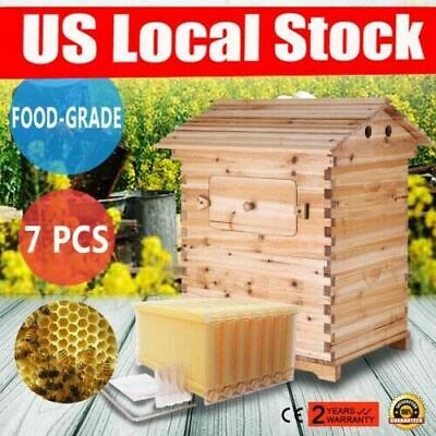 7pcs Auto Flowing Honey Hive Beehive Frames Beekeeping Wooden House Up Box Set