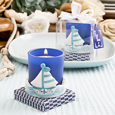 Nautical Themed Party Supplies (1 Sail Boat Votive Candle Beach Theme Wedding Bridal Shower Favor Nautical)