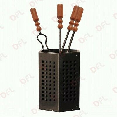 Set 4 tools for fireplace wrought iron and wood cm 18x50 h a