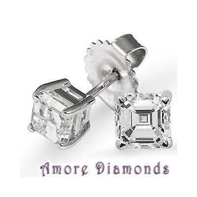6.06 ct GIA F/G VVS1 natural asscher cut diamond stud earrings 14k white gold