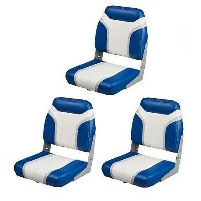 3 Blue Folding Boat Seats Marine Vinyl Boating Seat Bass Fishing Pontoon Boats