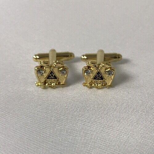 Freemason Masonic 32nd Degree Cufflinks In Gold Tone